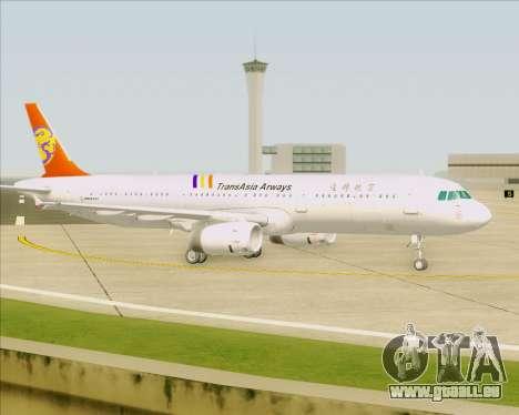 Airbus A321-200 TransAsia Airways für GTA San Andreas Unteransicht