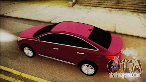 Hyundai Sonata 2015 pour GTA San Andreas sur la vue arrière gauche