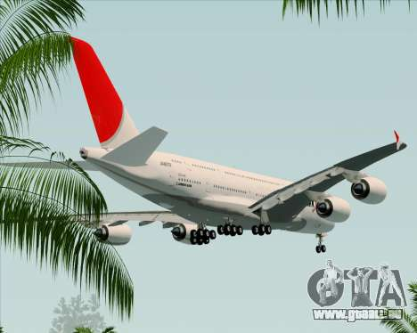 Airbus A380-800 Japan Airlines (JAL) für GTA San Andreas obere Ansicht