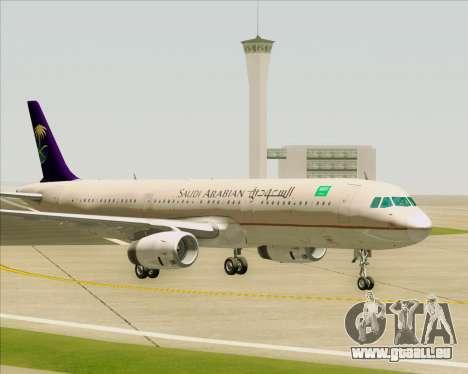 Airbus A321-200 Saudi Arabian Airlines pour GTA San Andreas vue de dessous