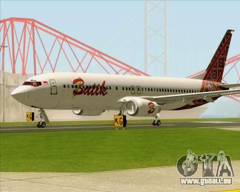 Boeing 737-800 Batik Air pour GTA San Andreas sur la vue arrière gauche