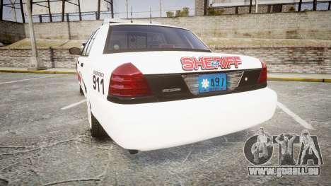 Ford Crown Victoria LC Sheriff [ELS] pour GTA 4 Vue arrière de la gauche