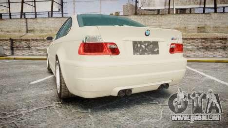 BMW M3 E46 2001 Tuned Wheel White pour GTA 4 Vue arrière de la gauche