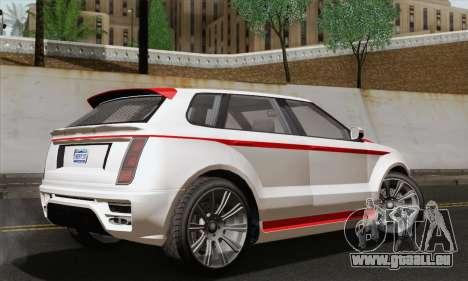 Huntley S pour GTA San Andreas sur la vue arrière gauche