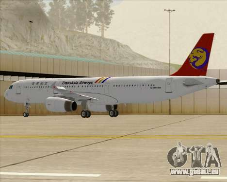Airbus A321-200 TransAsia Airways für GTA San Andreas Rückansicht