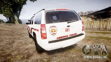 Chevrolet Suburban 2008 Hebron Police [ELS] Blue pour GTA 4 Vue arrière de la gauche