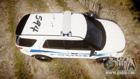 Ford Explorer 2013 PS Police [ELS] pour GTA 4 est un droit