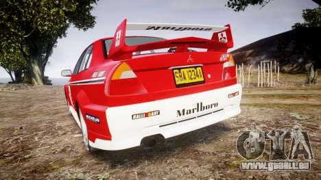 Mitsubishi Lancer Evolution VI Rally Marlboro für GTA 4 hinten links Ansicht