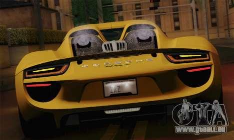 Porsche 918 Spyder 2013 pour GTA San Andreas vue arrière