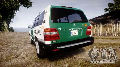 Toyota Land Cruiser Guardia Civil Cops [ELS] pour GTA 4 Vue arrière de la gauche
