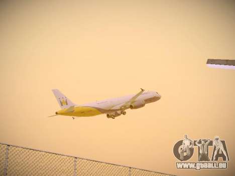 Airbus A321-232 Monarch Airlines für GTA San Andreas obere Ansicht