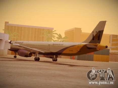 Airbus A321-232 Monarch Airlines für GTA San Andreas zurück linke Ansicht