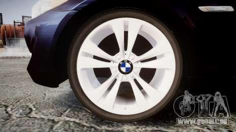 BMW 530d F11 Unmarked Police [ELS] pour GTA 4 Vue arrière