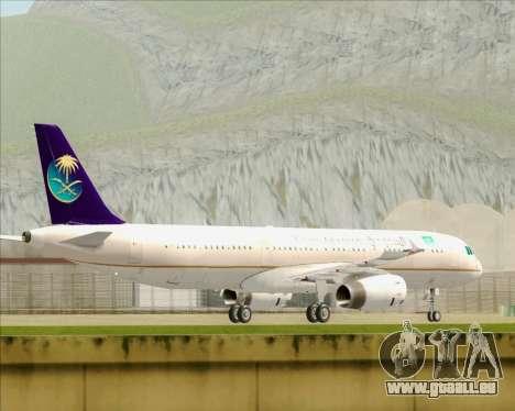 Airbus A321-200 Saudi Arabian Airlines pour GTA San Andreas sur la vue arrière gauche