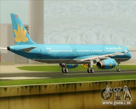 Airbus A321-200 Vietnam Airlines für GTA San Andreas Rückansicht