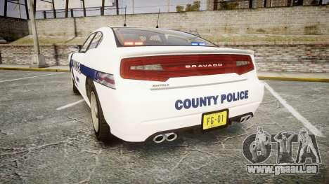 GTA V Bravado Buffalo Liberty Police [ELS] Slick pour GTA 4 Vue arrière de la gauche