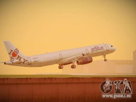 Airbus A321-232 jetBlue I love Blue York pour GTA San Andreas roue