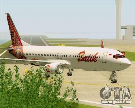 Boeing 737-800 Batik Air für GTA San Andreas Rückansicht