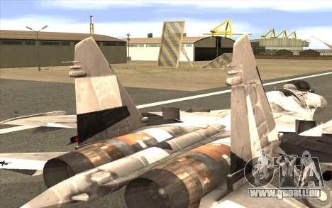 Sukhoi SU-35 BF3 pour GTA San Andreas sur la vue arrière gauche