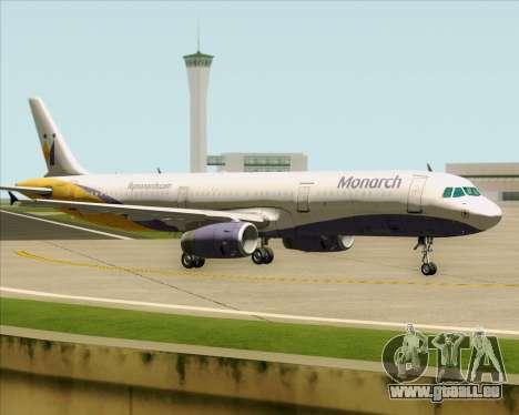 Airbus A321-200 Monarch Airlines für GTA San Andreas Rückansicht