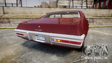 Pontiac Le Mans 1971 Rims1 pour GTA 4 Vue arrière de la gauche