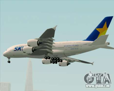 Airbus A380-800 Skymark Airlines pour GTA San Andreas vue de dessous