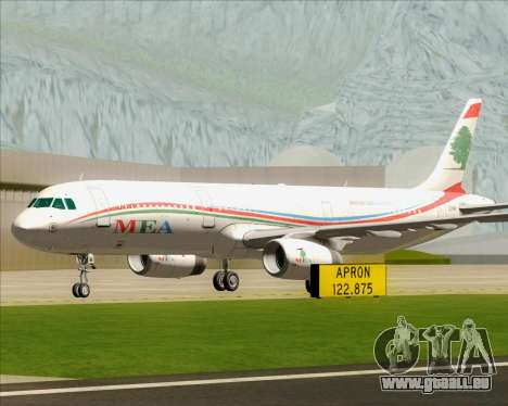 Airbus A321-200 Middle East Airlines (MEA) für GTA San Andreas obere Ansicht
