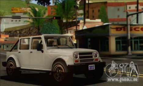 Canis Mesa pour GTA San Andreas sur la vue arrière gauche