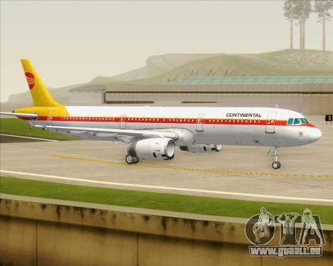 Airbus A321-200 Continental Airlines für GTA San Andreas obere Ansicht
