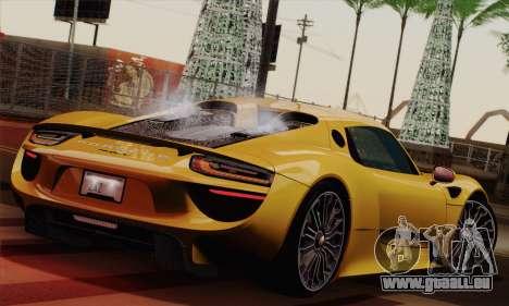 Porsche 918 Spyder 2013 pour GTA San Andreas laissé vue