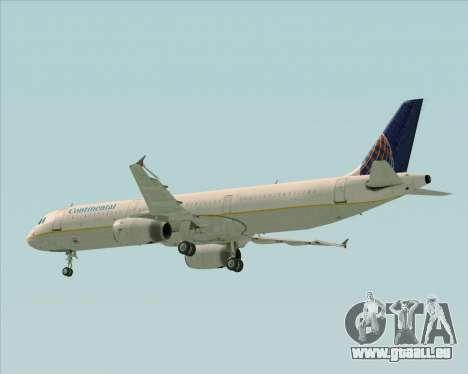 Airbus A321-200 Continental Airlines pour GTA San Andreas vue de dessous