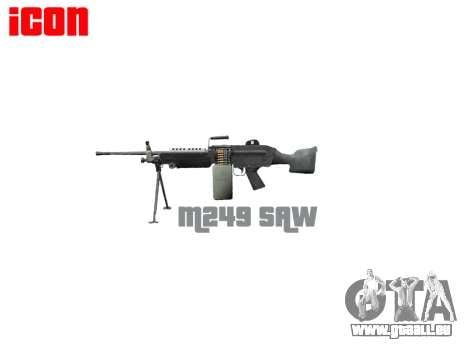 Mitrailleuse M249 SAW pour GTA 4 troisième écran