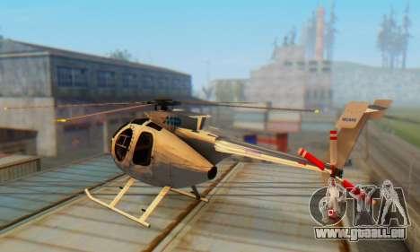 Le MD500E hélicoptère v3 pour GTA San Andreas sur la vue arrière gauche