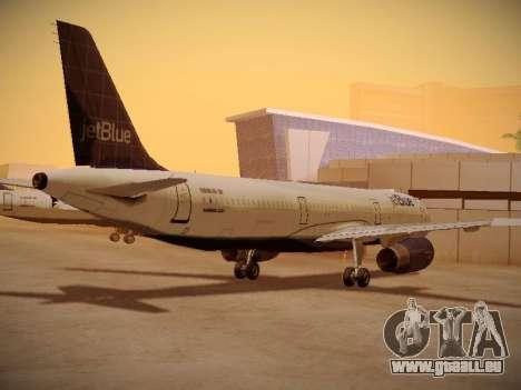 Airbus A321-232 jetBlue Batty Blue pour GTA San Andreas sur la vue arrière gauche