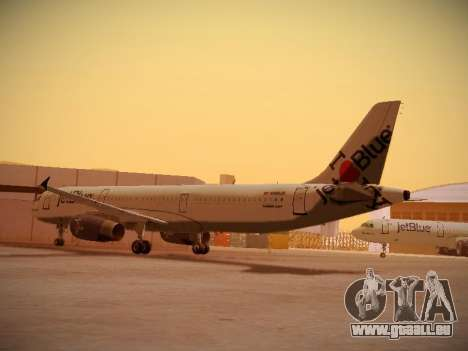 Airbus A321-232 jetBlue I love Blue York für GTA San Andreas zurück linke Ansicht