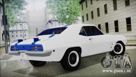 Pontiac Firebird Trans Am Coupe (2337) 1969 pour GTA San Andreas laissé vue