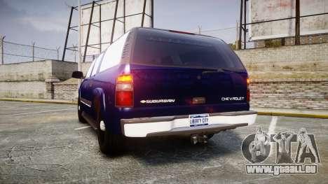 Chevrolet Suburban Undercover 2003 Grey Rims pour GTA 4 Vue arrière de la gauche