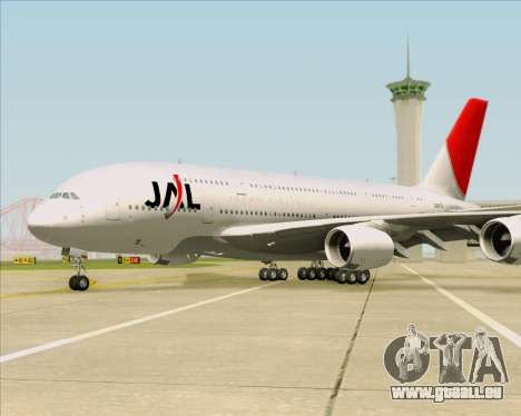 Airbus A380-800 Japan Airlines (JAL) pour GTA San Andreas vue de dessous