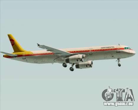 Airbus A321-200 Continental Airlines für GTA San Andreas zurück linke Ansicht