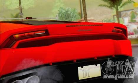 Lamborghini Huracan 2014 Type 2 pour GTA San Andreas sur la vue arrière gauche