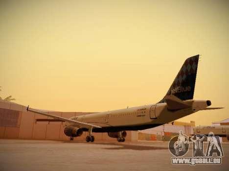 Airbus A321-232 jetBlue Airways pour GTA San Andreas sur la vue arrière gauche