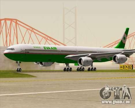 Airbus A340-600 EVA Air für GTA San Andreas zurück linke Ansicht