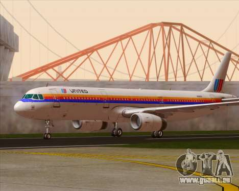 Airbus A321-200 United Airlines für GTA San Andreas linke Ansicht