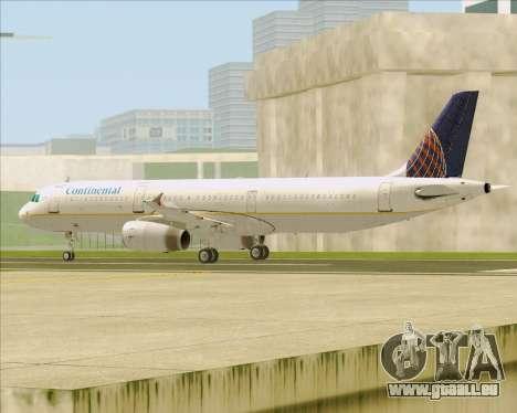 Airbus A321-200 Continental Airlines pour GTA San Andreas sur la vue arrière gauche