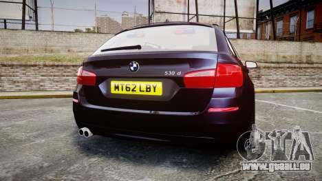 BMW 530d F11 Unmarked Police [ELS] pour GTA 4 Vue arrière de la gauche