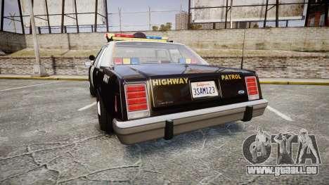 Ford LTD Crown Victoria 1987 Police CHP1 [ELS] pour GTA 4 Vue arrière de la gauche