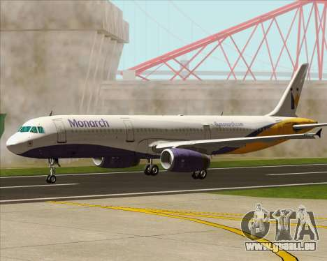 Airbus A321-200 Monarch Airlines für GTA San Andreas obere Ansicht