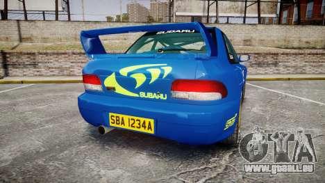 Subaru Impreza WRC 1998 World Rally v3.0 Green pour GTA 4 Vue arrière de la gauche