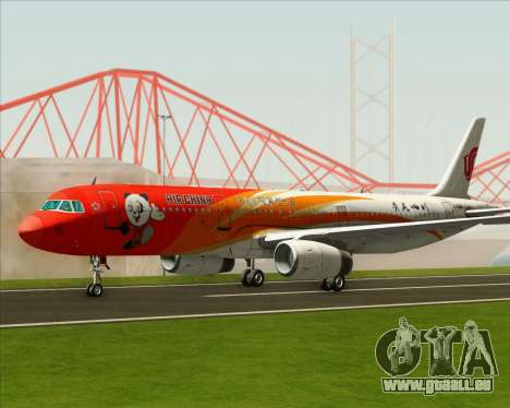 Airbus A321-200 Air China (Beautiful Sichuan) pour GTA San Andreas sur la vue arrière gauche