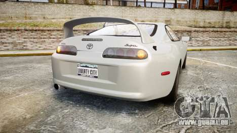 Toyota Supra pour GTA 4 Vue arrière de la gauche